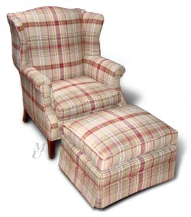 Plaid Chair and Ottoman