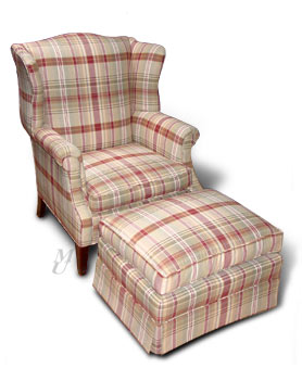 Matching Plaids Chair and Ottoman